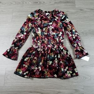 Ella Moss Girsl Floral Velvet Dress sz 7